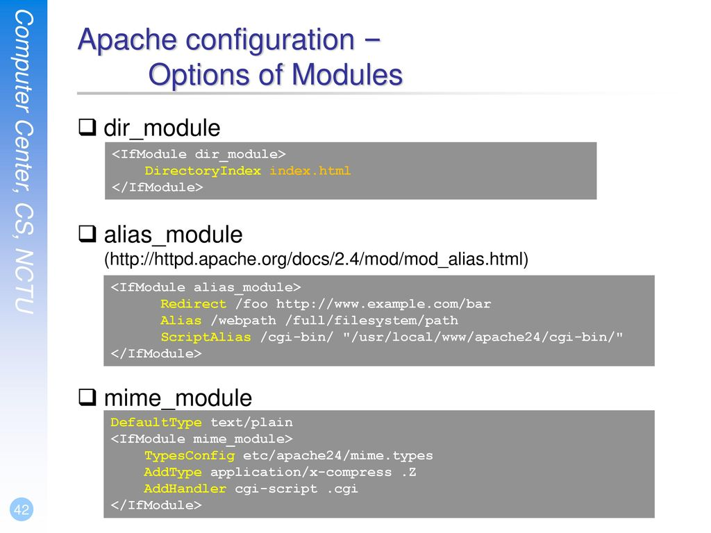 Apache configuration – Options of Modules
