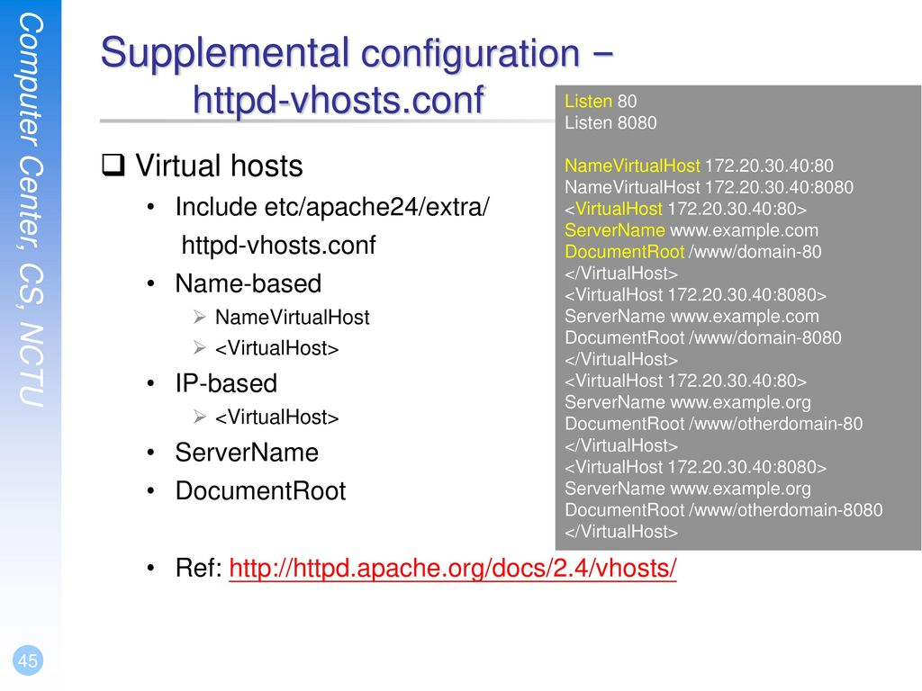 Supplemental configuration – httpd-vhosts.conf