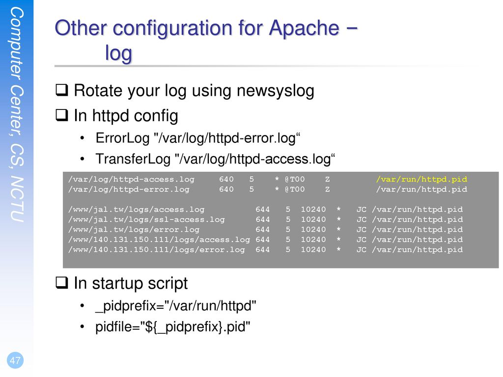 Other configuration for Apache – log
