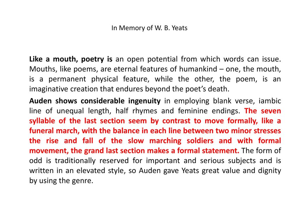 in memory of wb yeats poem text
