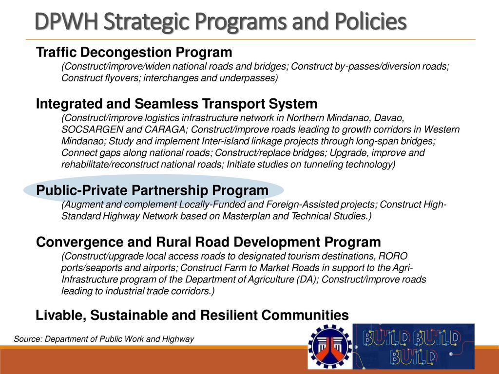 DPWH Strategic Programs and Policies