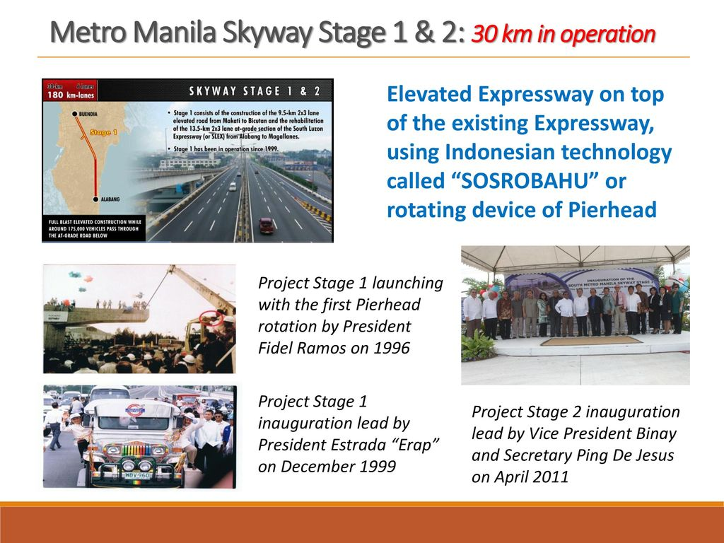 Metro Manila Skyway Stage 1 & 2: 30 km in operation