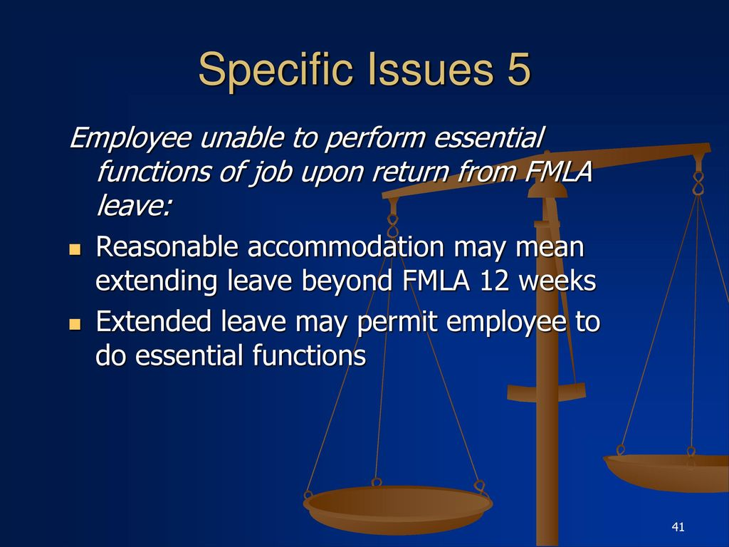 Reasonable Accommodations Extend To >> Interaction Of The Ada Fmla And Workers Compensation Law Ppt