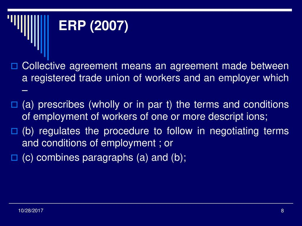 Topic 5bargaining Structures And Processes Ppt Download Registered Electrical Worker Trade Erp 2007 Collective Agreement Means An Made Between A Union Of