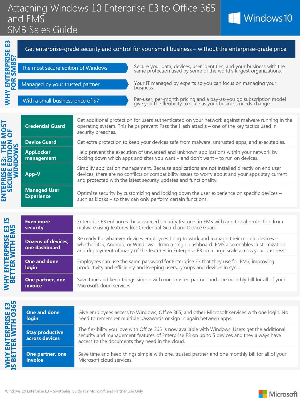 Attaching Windows 10 Enterprise E3 to O365 and EMS SMB Sales Guide
