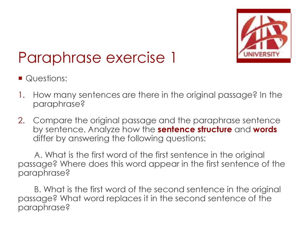 ELS - Writing Lecture 5: Part 2 – Paraphrase and Summary writing (by