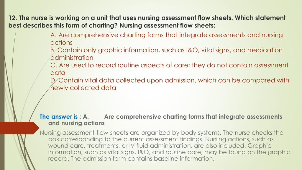 The Nurse Is Working On A Unit That Uses Nursing Assessment Flow Sheets