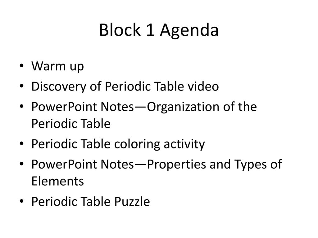 Unit 2 periodic table and chemical behavior ppt download block 1 agenda warm up discovery of periodic table video urtaz Gallery