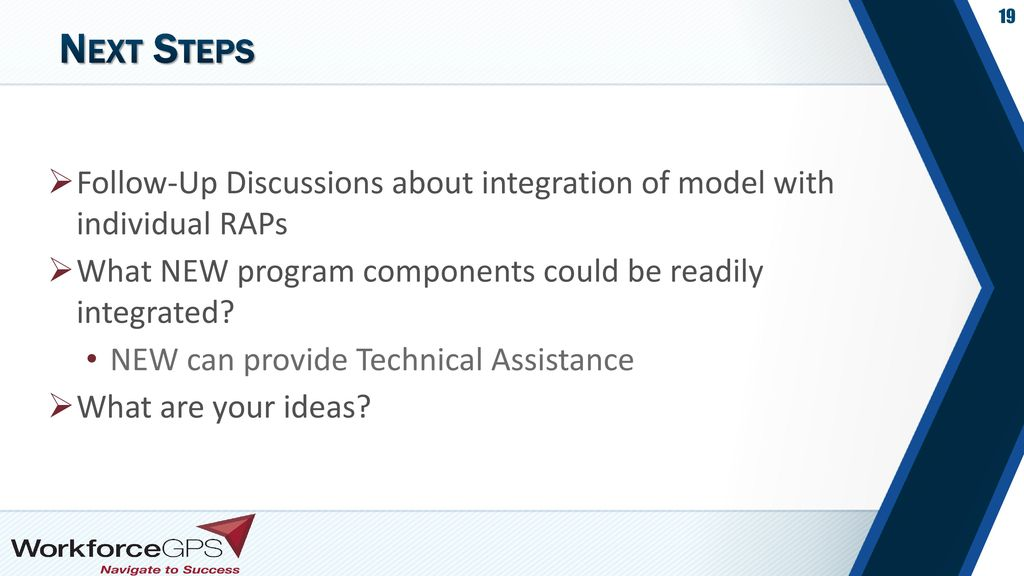 Next Steps Follow-Up Discussions about integration of model with individual RAPs. What NEW program components could be readily integrated