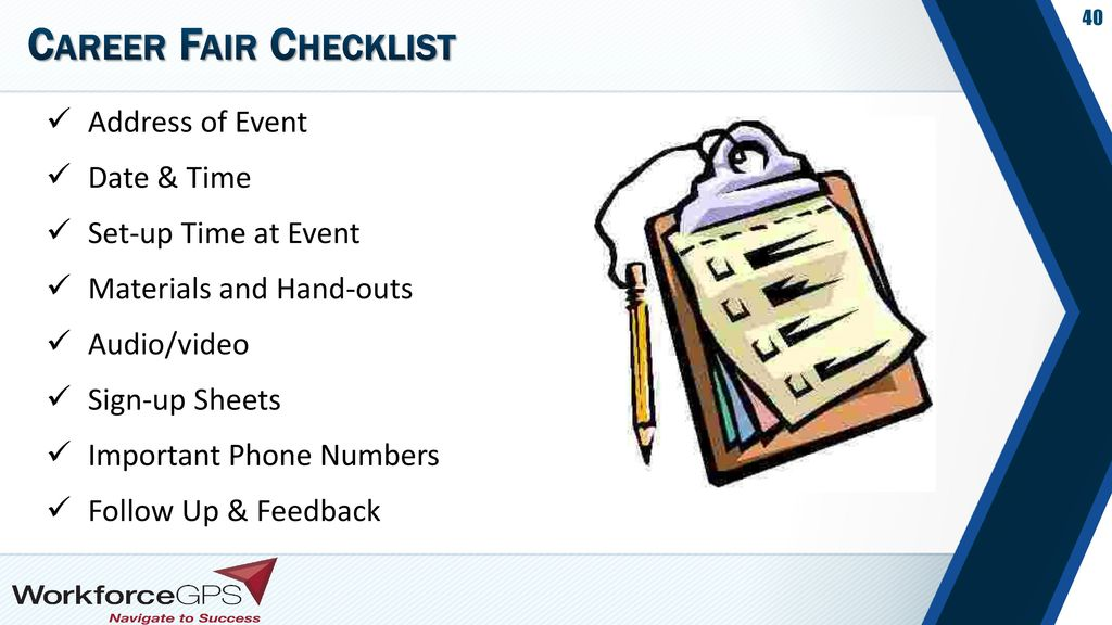 Career Fair Checklist Address of Event Date & Time