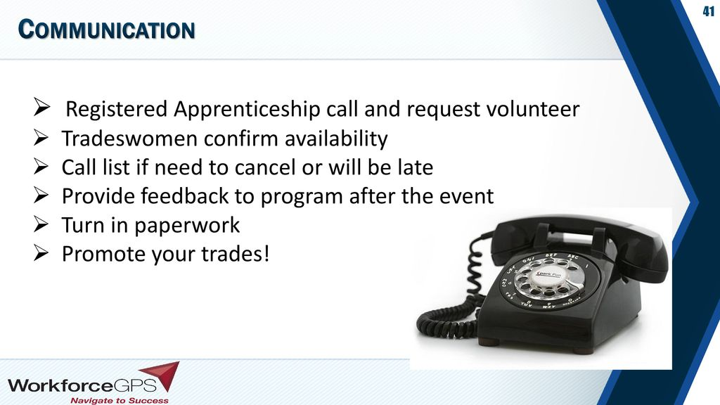 Communication Registered Apprenticeship call and request volunteer