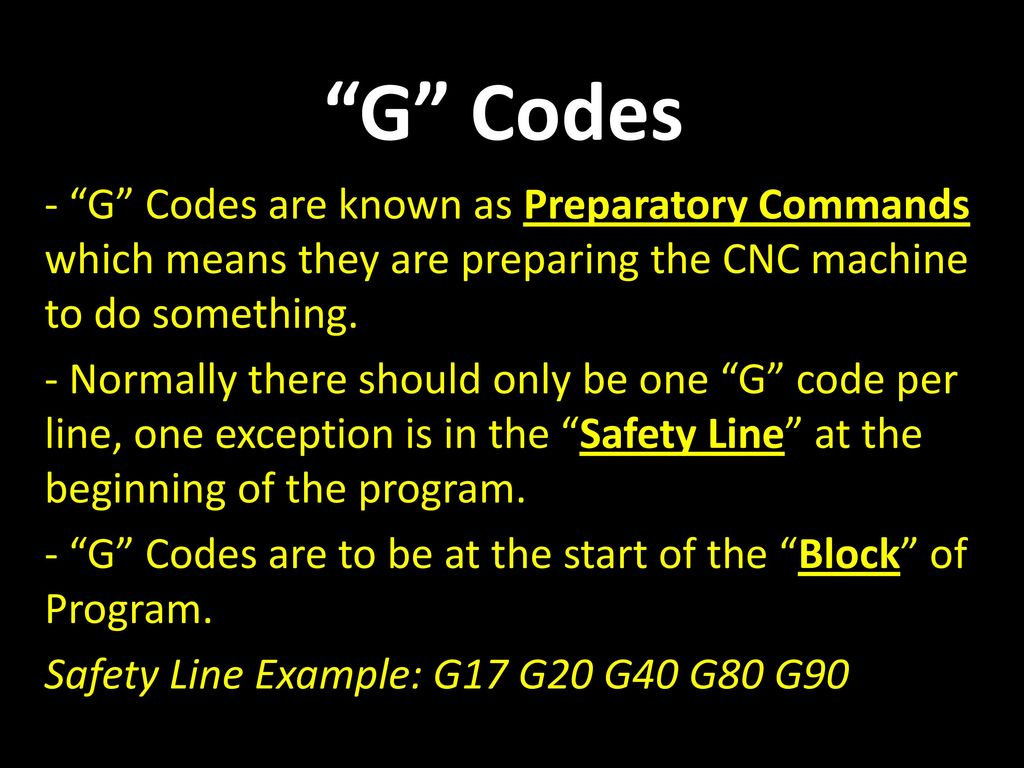 CNC Codes and Letters NOTE: The following will be a listing