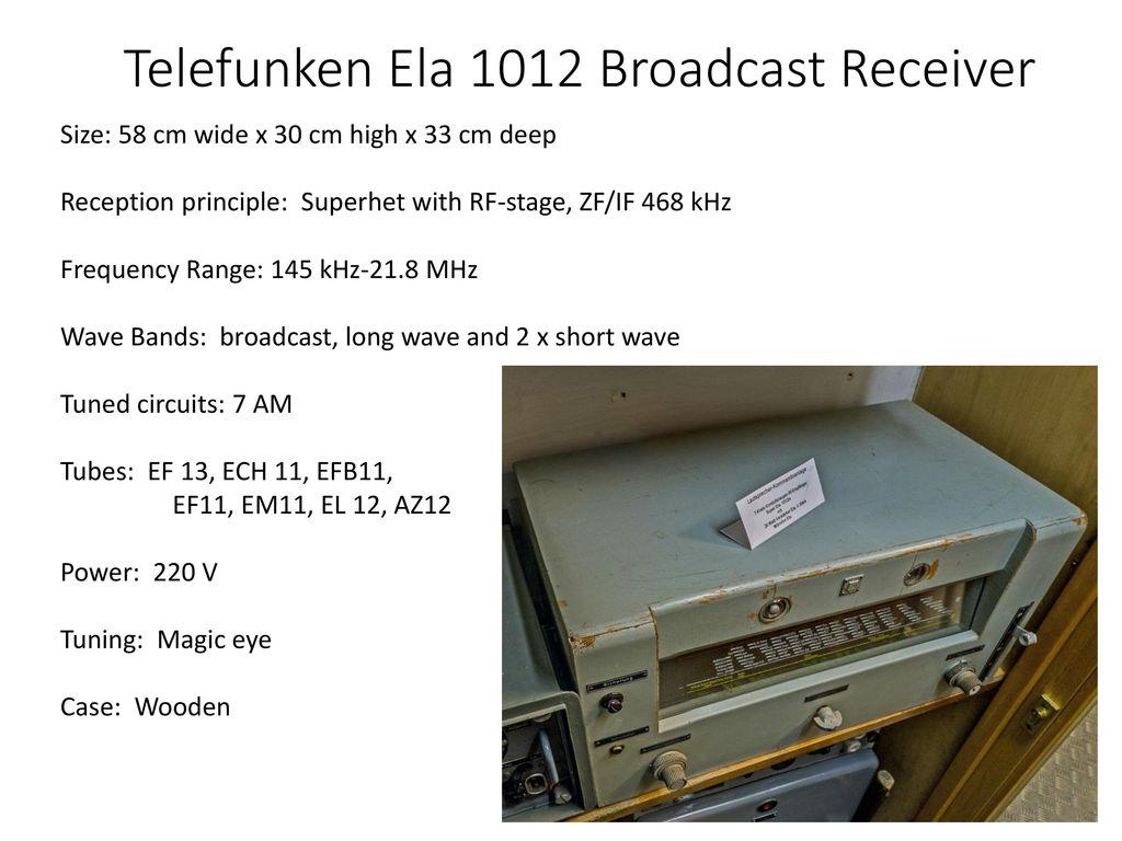Personnel Equipment Procedures Ppt Download 25 Metres Range Short Wave Am Transmitter 23 Telefunken T9k39 Main Receiver
