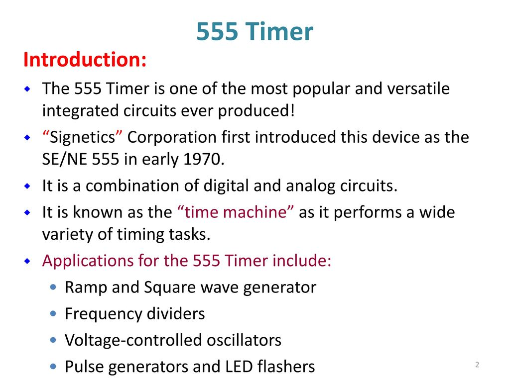 Lm555 Timer Circuits 555 Multivibtrator Ppt Download 2