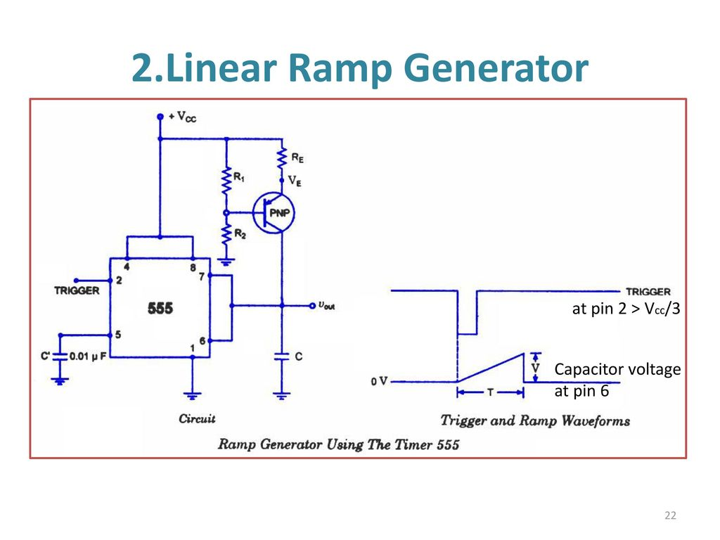 555 Timer Multivibtrator Ppt Download Trigger Circuit Using Ne Electronic Circuits And Diagram Linear Ramp Generator At Pin 2 Vcc 3 Capacitor Voltage 6