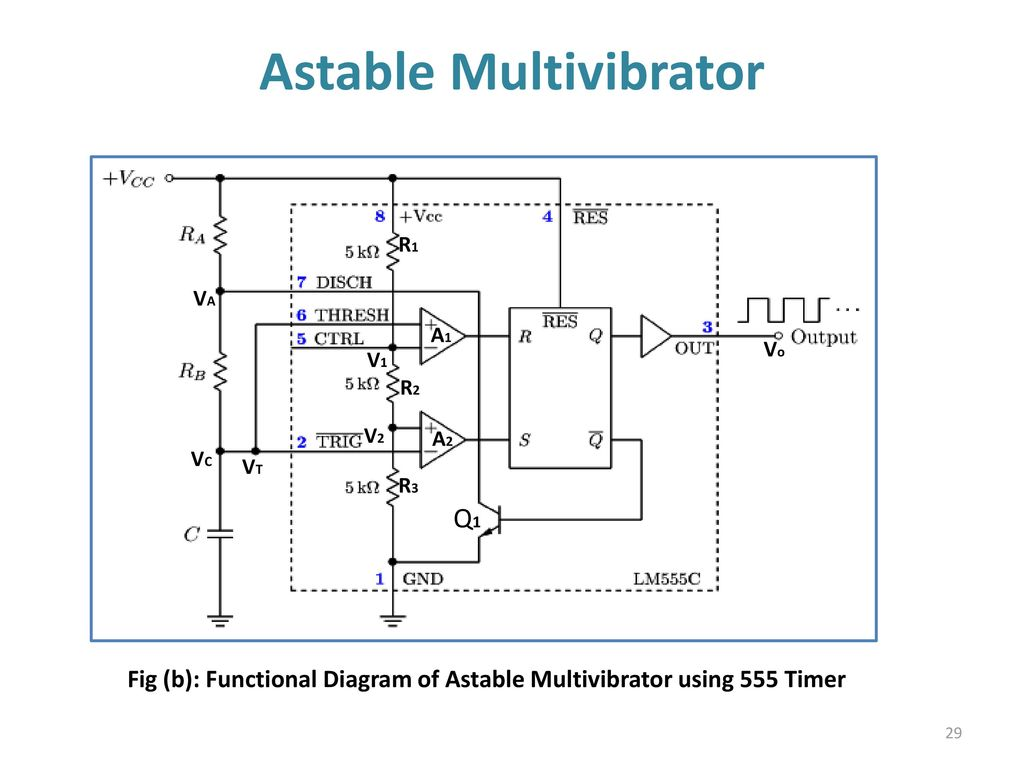 555 Timer Multivibtrator Ppt Download Circuit Diagram Using Of Astable Multivibrator