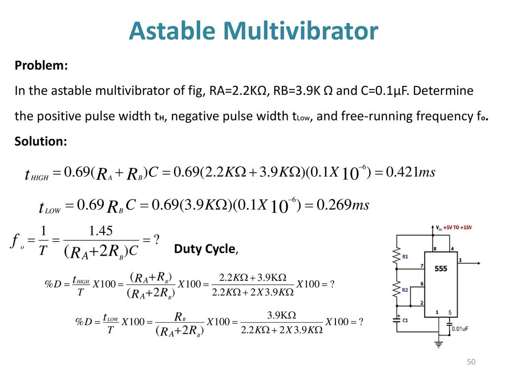 555 Timer Multivibtrator Ppt Download The Circuit Diagram Of An Astable Multivibrator Using Operational
