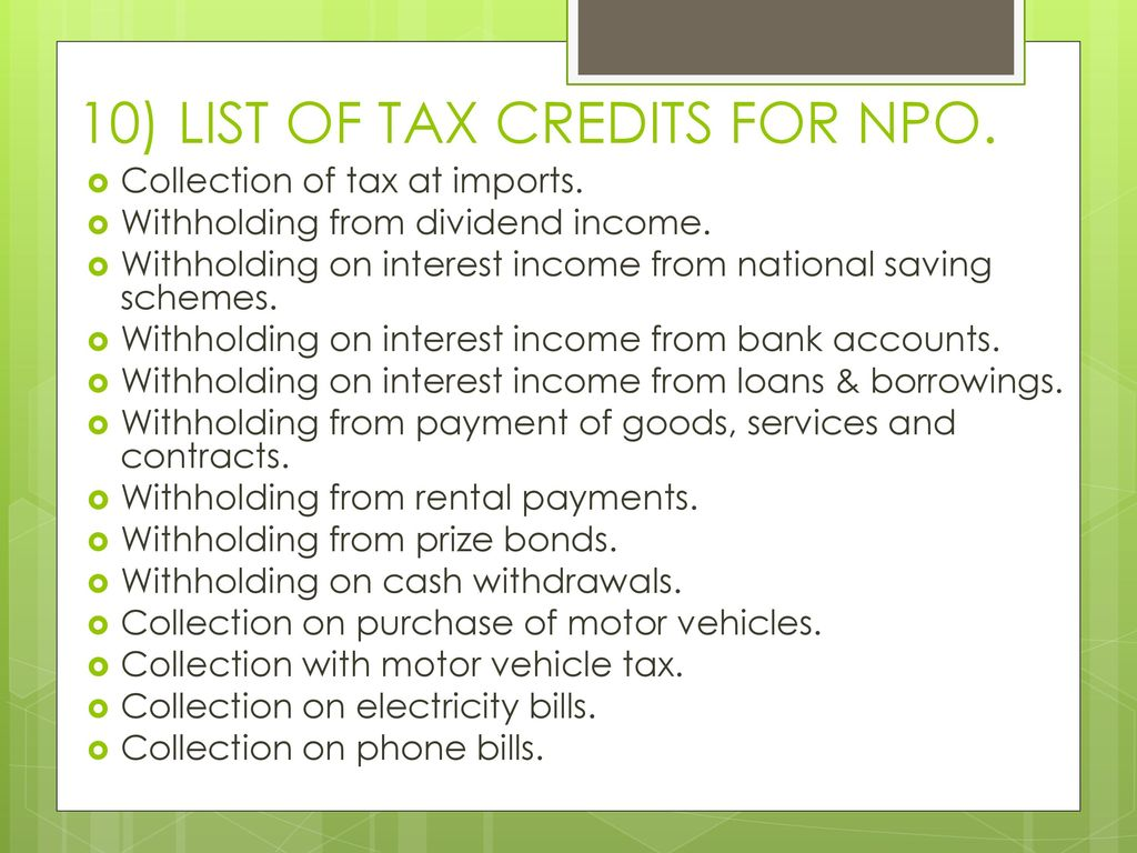 10 List Of Tax Credits For Npo