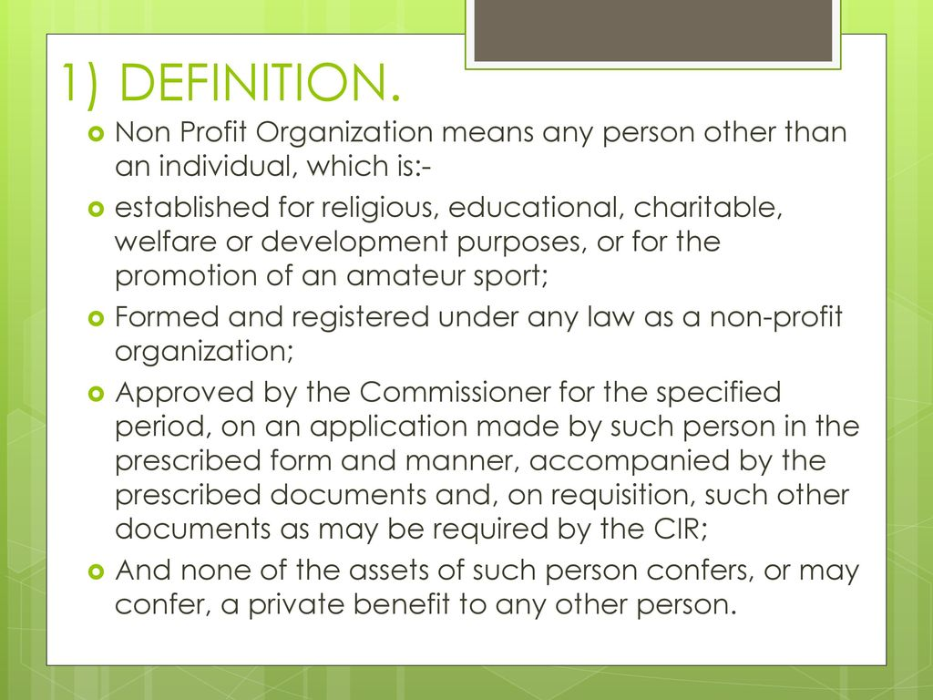 approval of non profit organizaiton under clause 36 of section 2