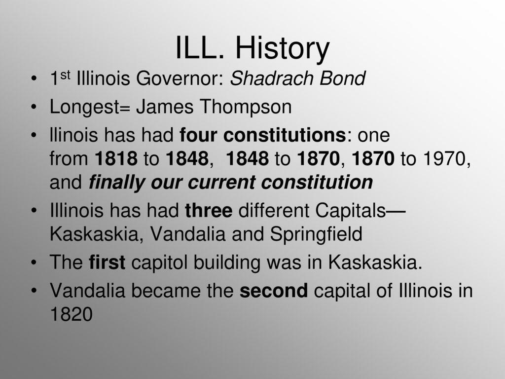 History 1st Illinois Governor: Shadrach Bond