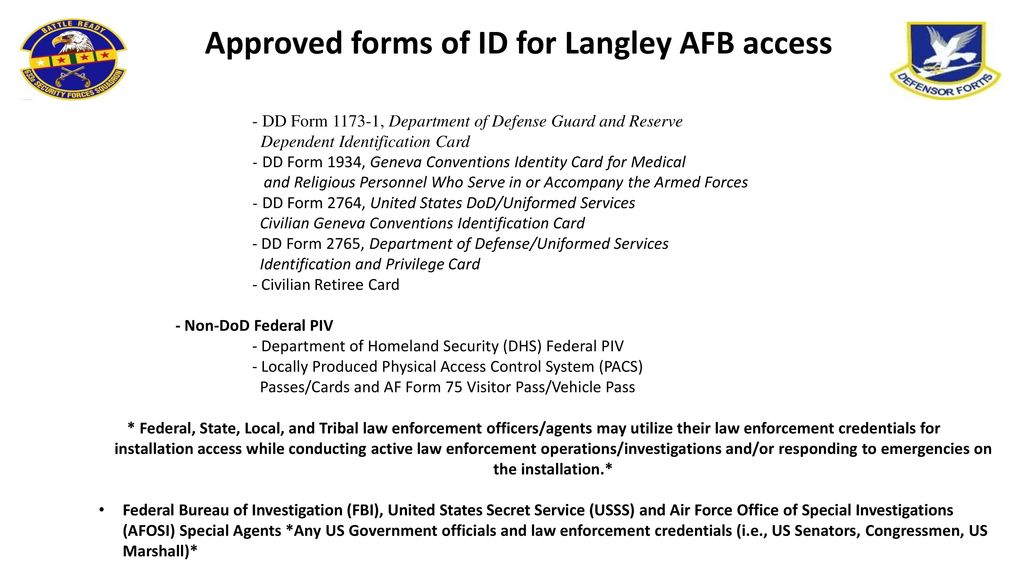 Approved Forms Of ID For Langley AFB Access Ppt Download