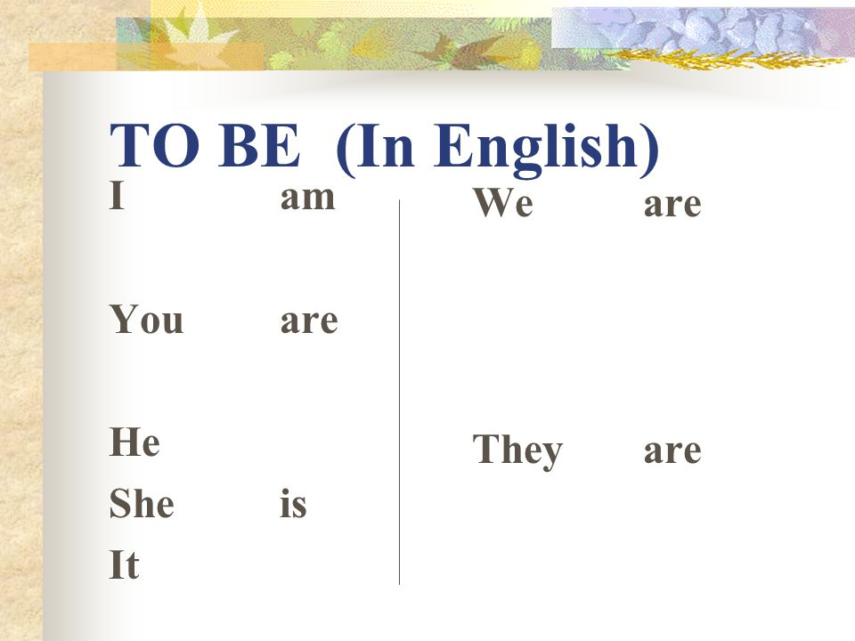 TO BE (In English) I am You are He She is It We are They are