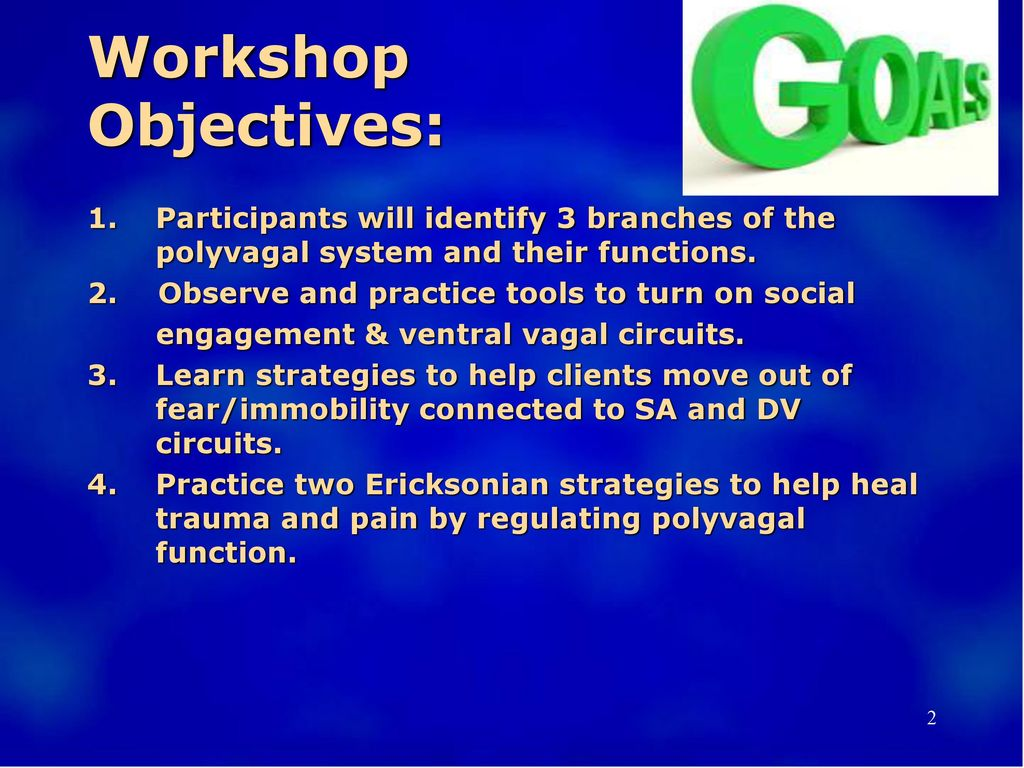 Workshop Objectives: Participants will identify 3 branches of the polyvagal system and their functions.