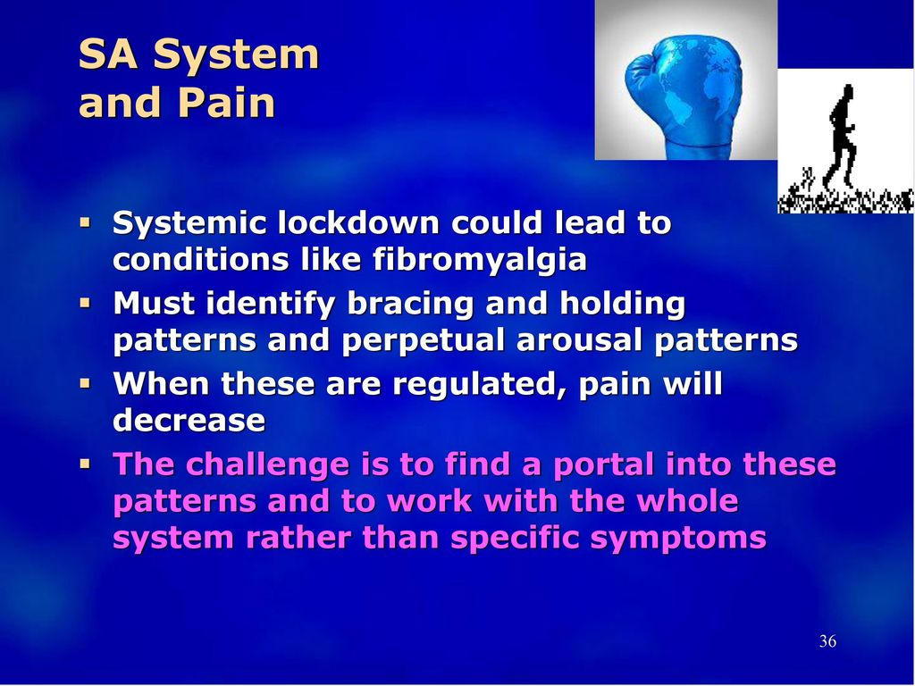 SA System and Pain Systemic lockdown could lead to conditions like fibromyalgia.
