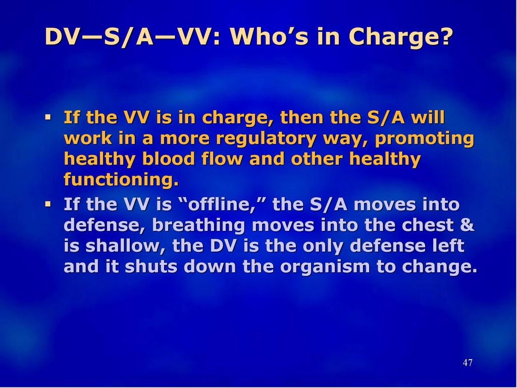 DV—S/A—VV: Who's in Charge