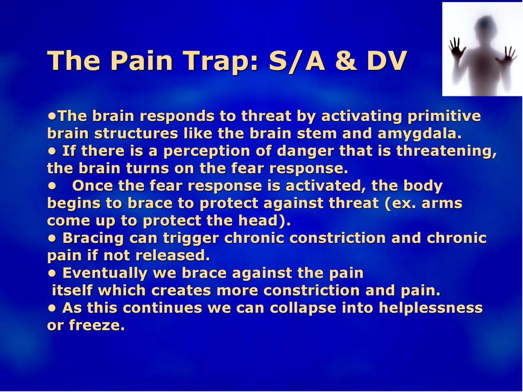 The Pain Trap: S/A & DV •The brain responds to threat by activating primitive brain structures like the brain stem and amygdala.