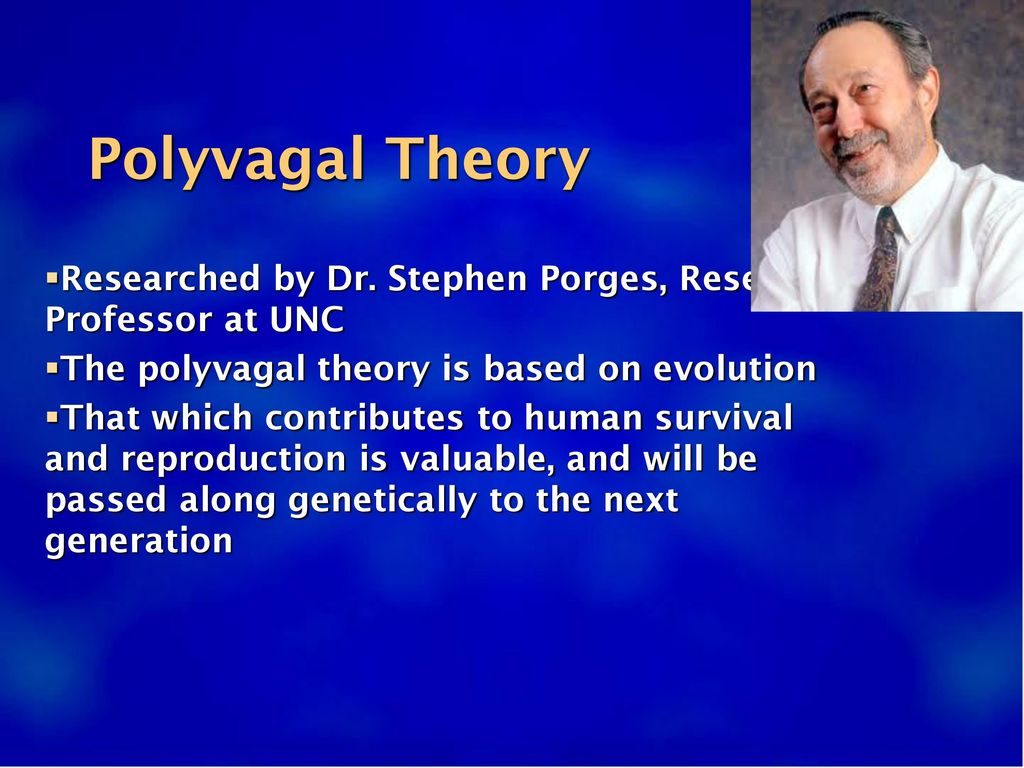 Polyvagal Theory Researched by Dr. Stephen Porges, Research Professor at UNC. The polyvagal theory is based on evolution.