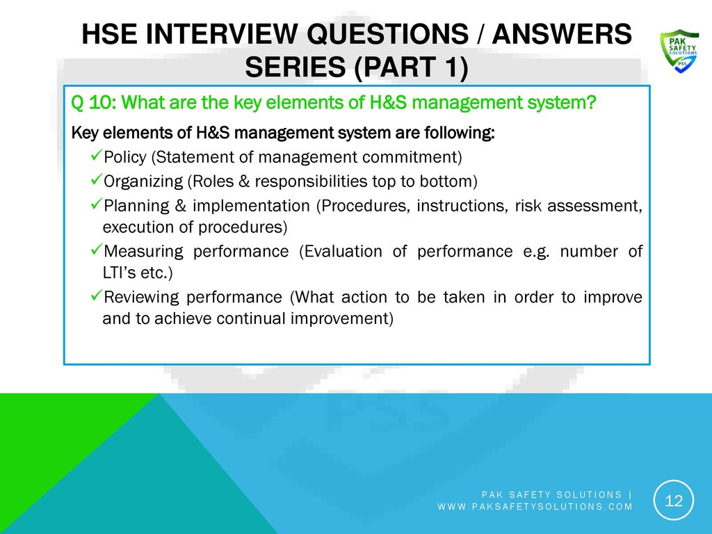 HSE Interview Questions / Answers Series (Part 1) - ppt