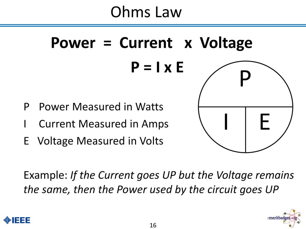 Electronics Merit Badge Ppt Download Electricity Why Does Voltage Remains Same Over Parallel Circuit 16 Power Current X