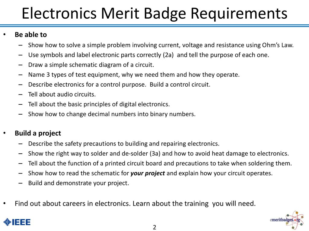 Electronics Merit Badge Ppt Download Circuit Board Diagram Symbols Requirements