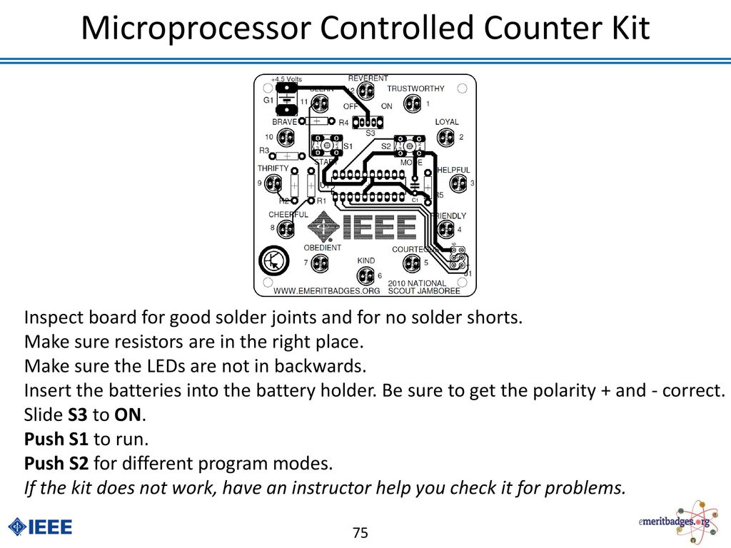 Electronics Merit Badge Ppt Download The Four Circuits I Put On Board Of Course Used 001uf Not 75 Microprocessor Controlled Counter Kit