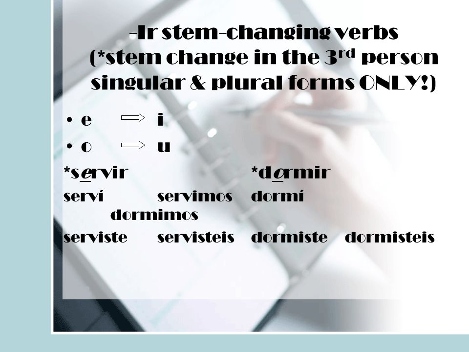 -Ir stem-changing verbs (