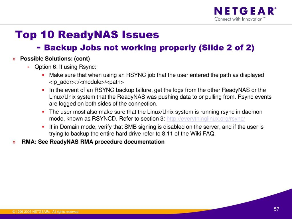 ReadyNAS L2 Training Session 3 (Technical section) - ppt