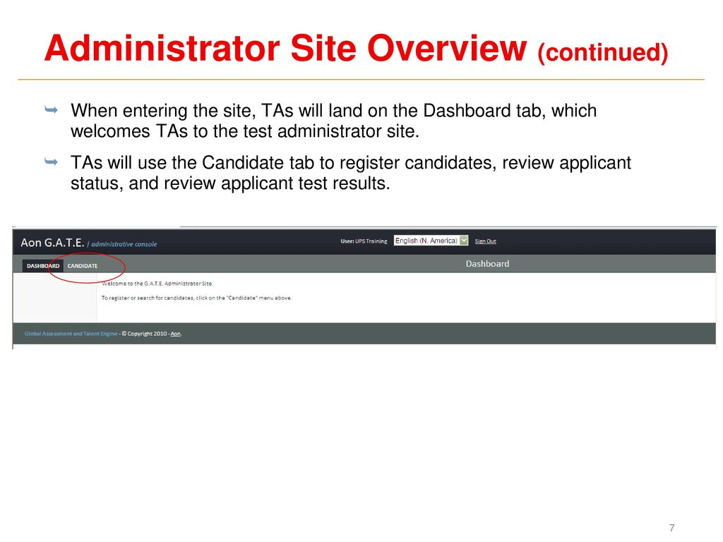Applicant Profile® G A T E ® Test Administration Training UPS MAPP