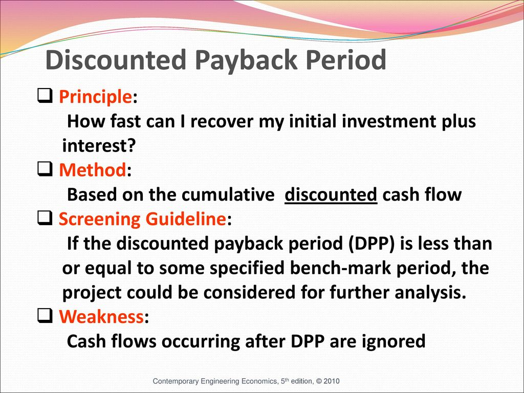 Payback period and other investment tools 51