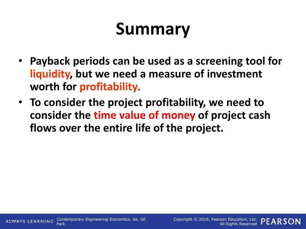 Payback period and other investment tools 77
