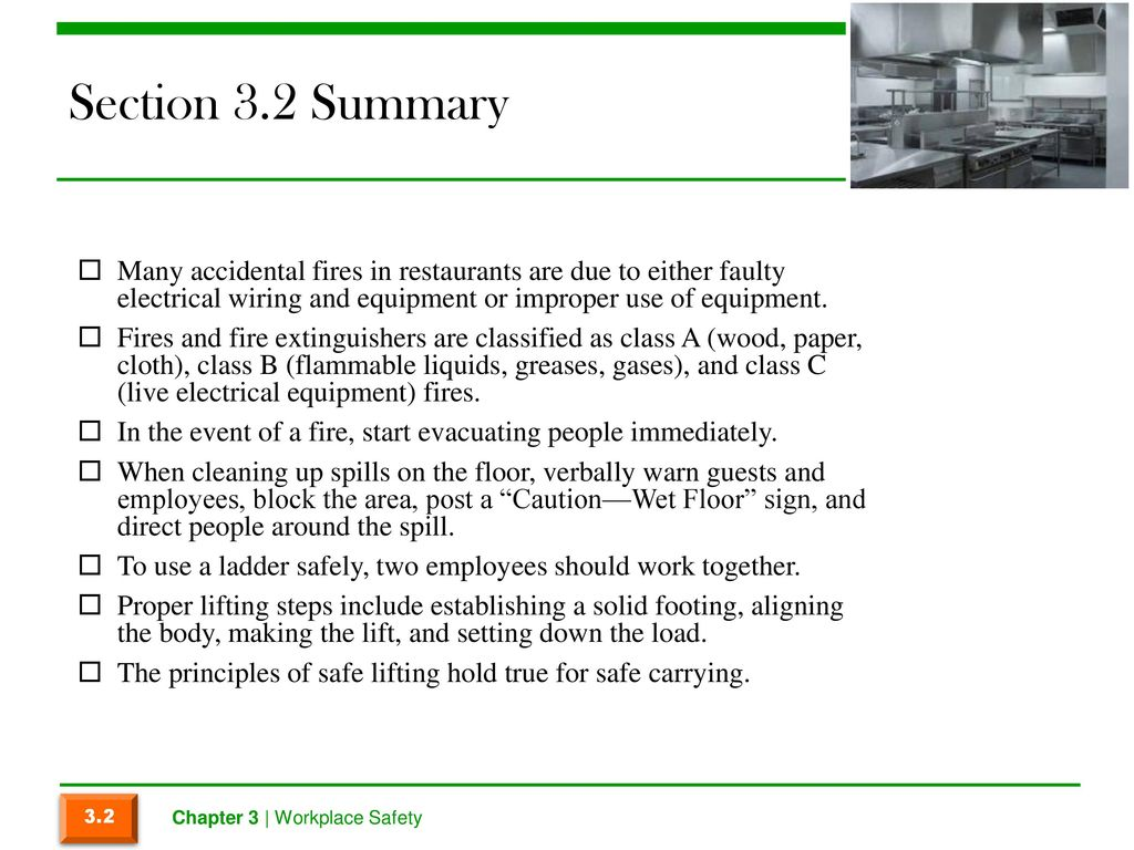Chapter 3 Workplace Safety Ppt Download Faulty Electrical Wiring Section 32 Summary Many Accidental Fires In Restaurants Are Due To Either And