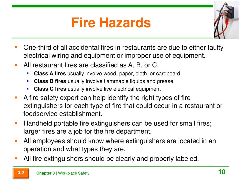 Chapter 3 Workplace Safety Ppt Download Faulty Electrical Wiring Fire Hazards One Third Of All Accidental Fires In Restaurants Are Due To Either