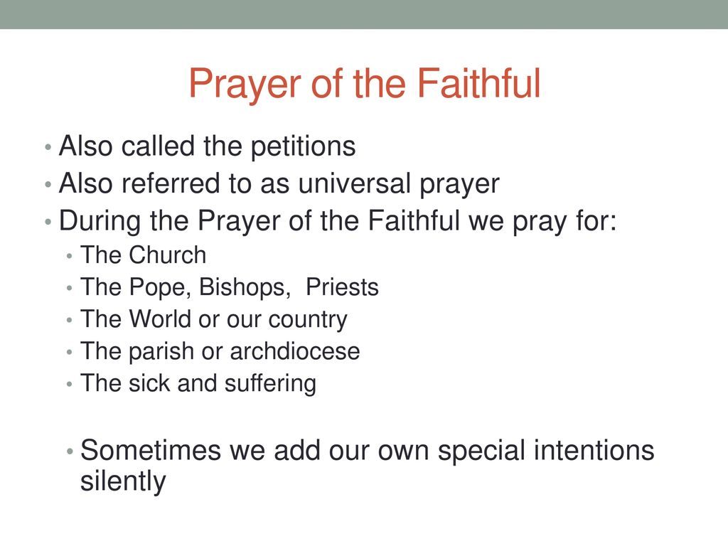 Prayer of the Faithful Also called the petitions