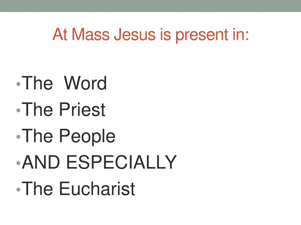 At Mass Jesus is present in:
