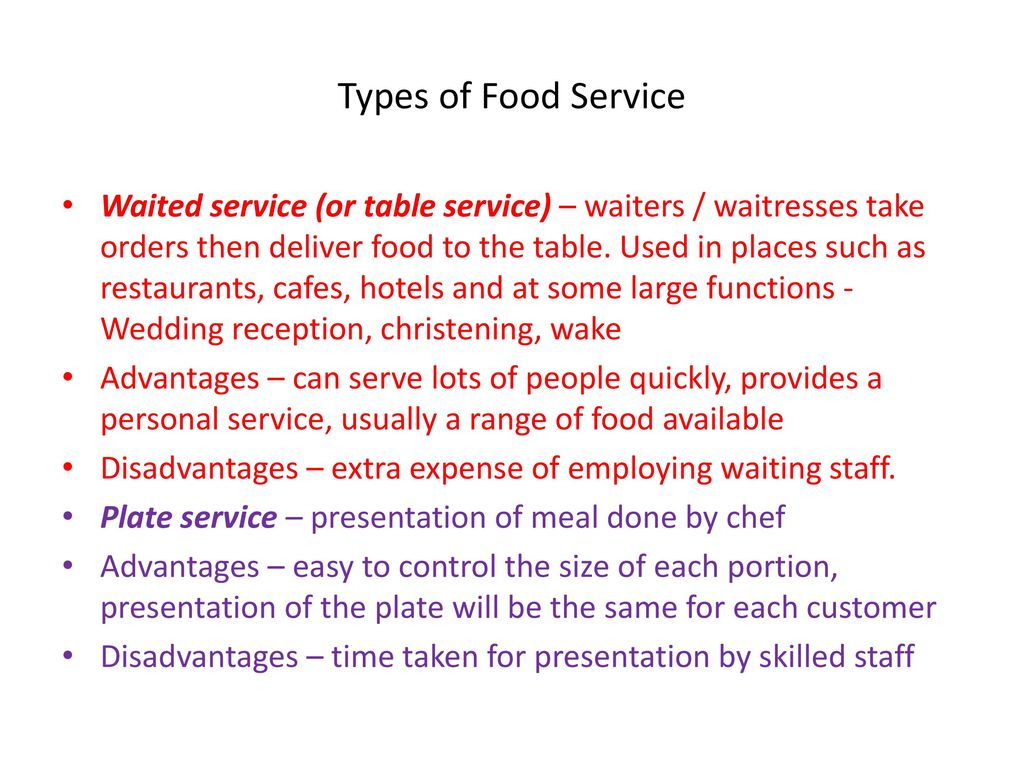 Types Of Food Service