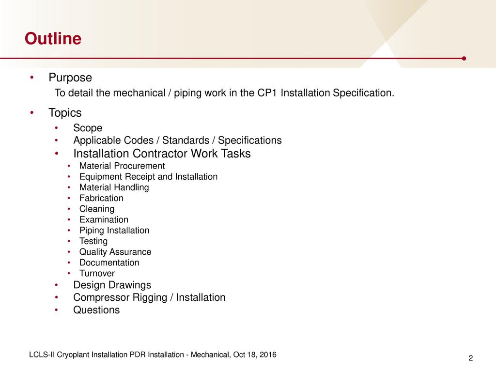 Installation Package Mechanical Piping Ppt Download Layout Best Practices 2 Outline