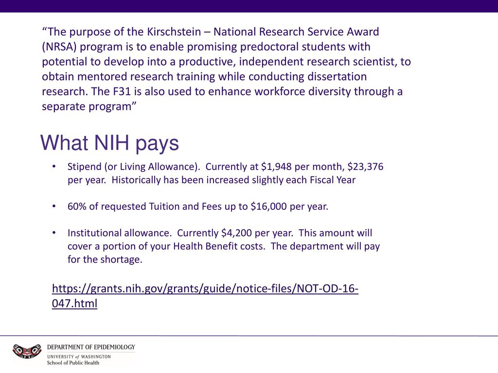 NIH F31 Application Process 2 The