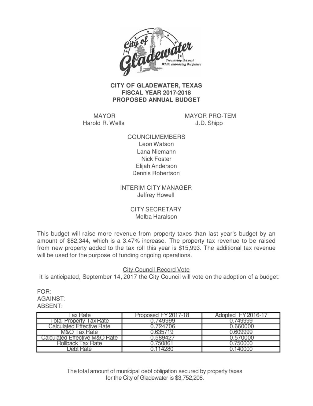 CITY OF GLADEWATER, TEXAS FISCAL YEAR PROPOSED ANNUAL BUDGET
