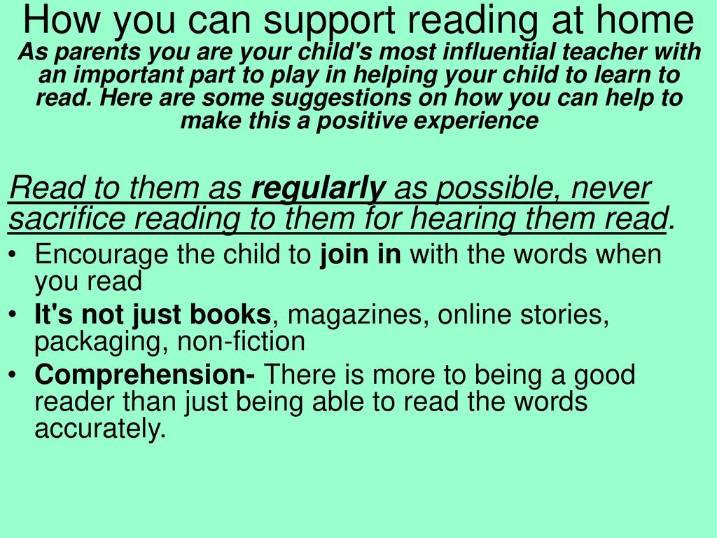 Supporting your child with their progress in Reading and