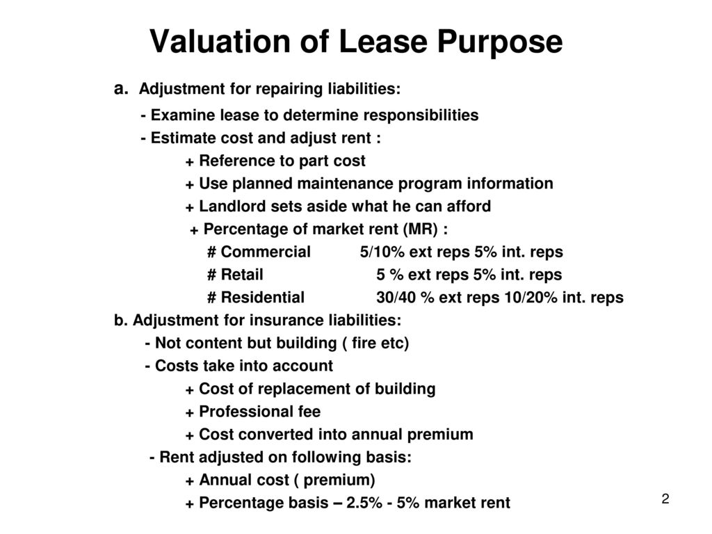 What Is The Purpose Of The Lease | Valuation Of Lease Purpose Ppt Download